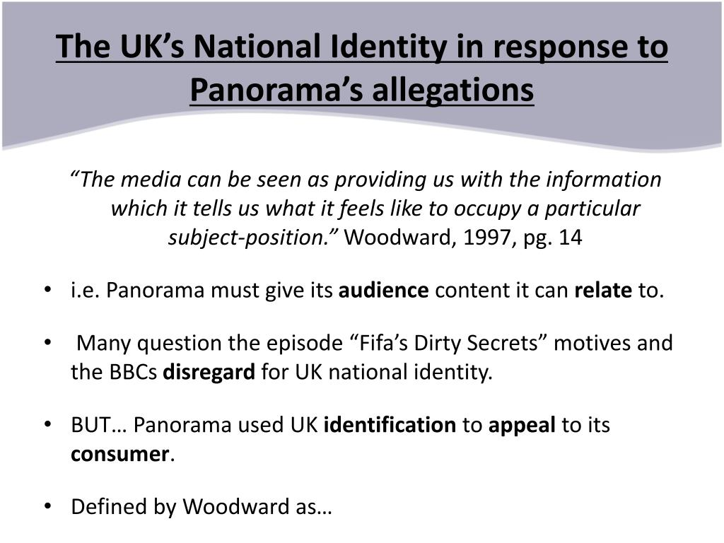 The UK's National Identity in response to Panorama's allegations