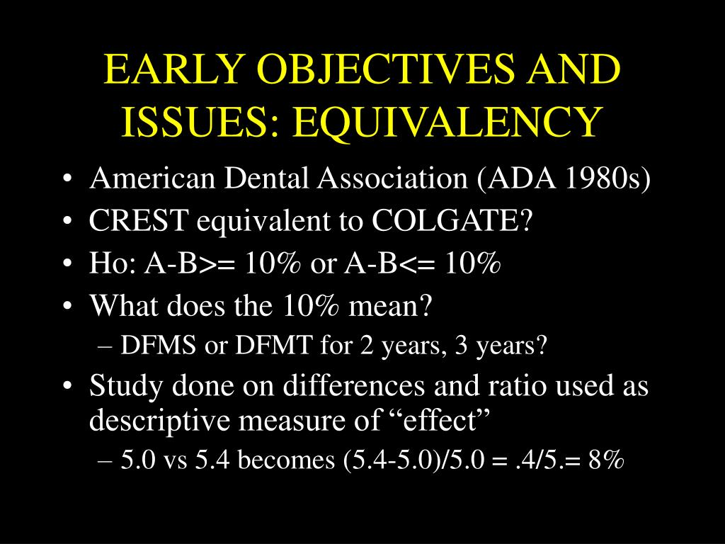 EARLY OBJECTIVES AND ISSUES: EQUIVALENCY