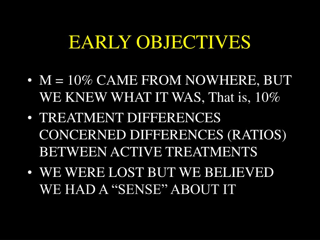 EARLY OBJECTIVES