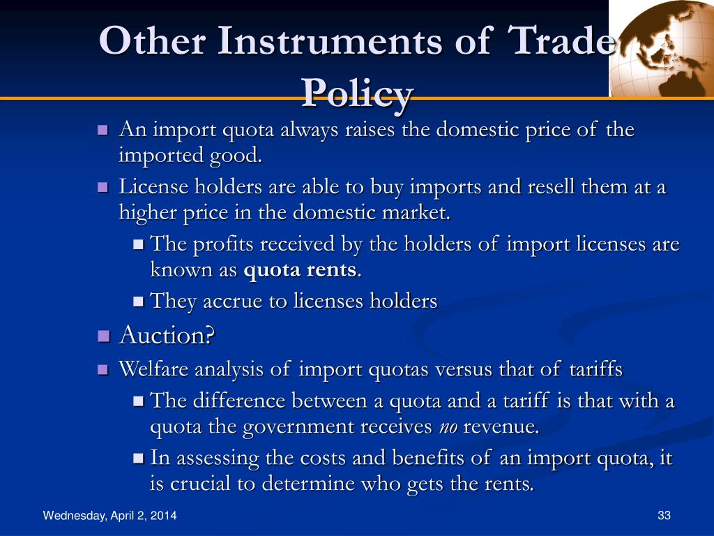 the instruments of trade policy Trade policy defines standards, goals, rules and regulations that pertain to trade relations between countries these policies are specific to each country and are.