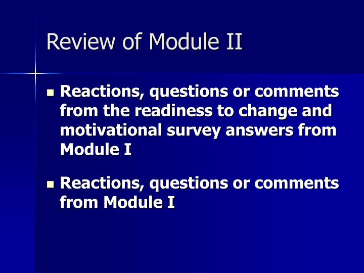 Review of module ii