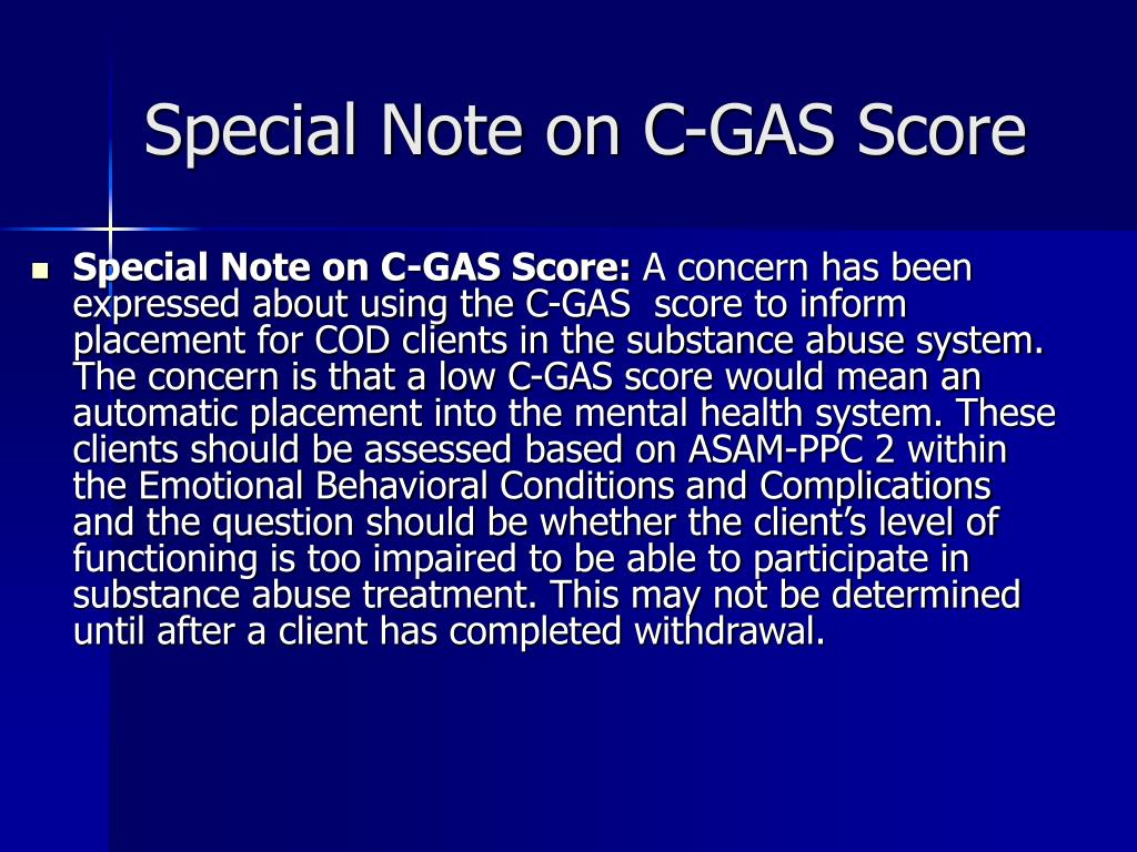 Special Note on C-GAS Score