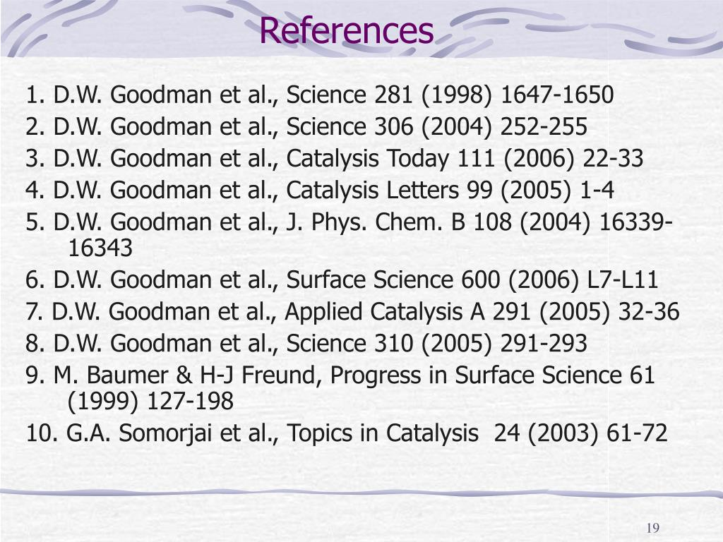 1. D.W. Goodman et al., Science 281 (1998) 1647-1650