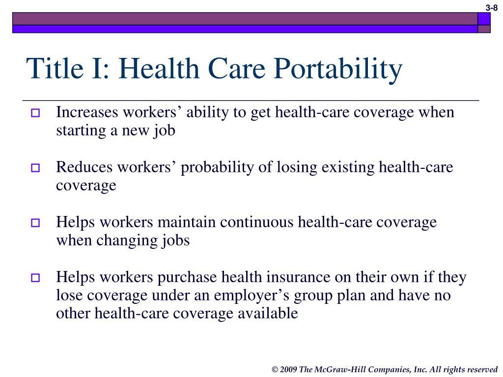 Title I: Health Care Portability