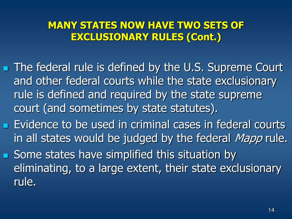 the exclusionary rule in the united states Overviewthe exclusionary rule prevents the government from using most evidence gathered in violation of the united states constitution the decision in mapp v.