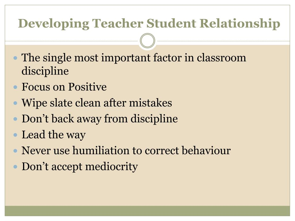 Developing Teacher Student Relationship