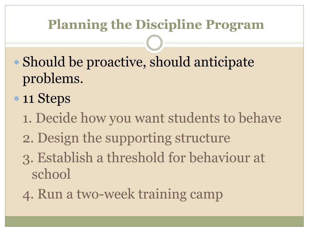 Planning the Discipline Program