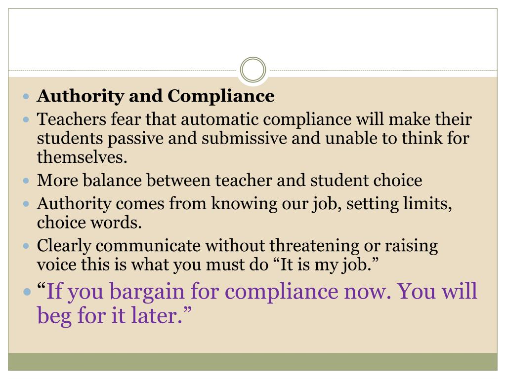 Authority and Compliance
