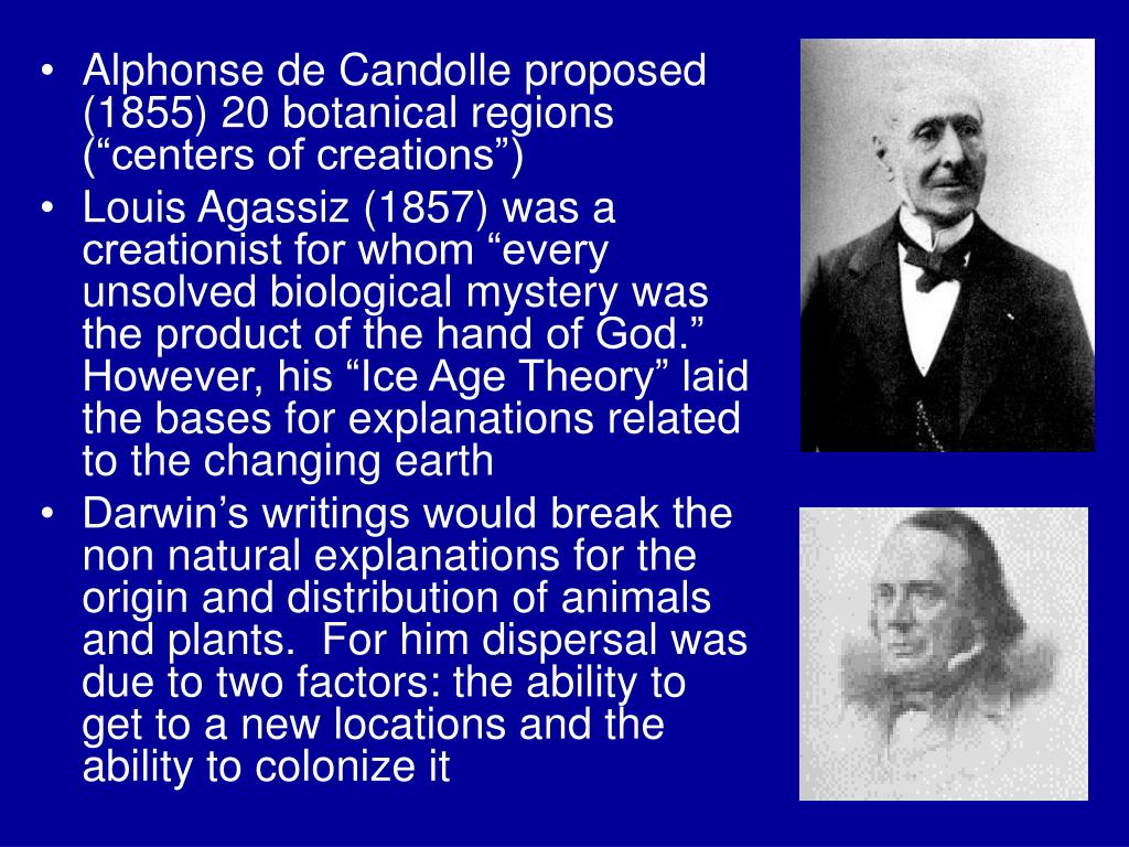 """Alphonse de Candolle proposed (1855) 20 botanical regions (""""centers of creations"""")"""
