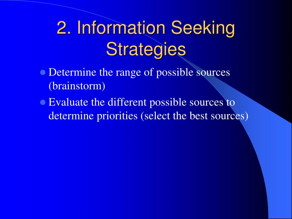 2. Information Seeking Strategies