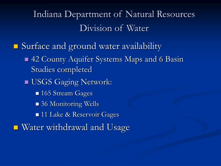 Indiana department of natural resources division of water