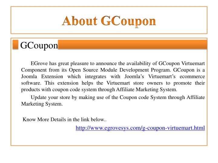 About gcoupon
