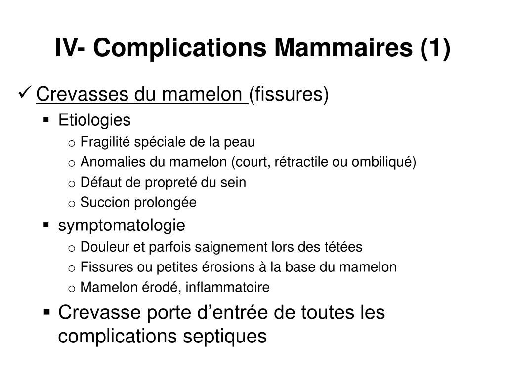 IV- Complications Mammaires (1)