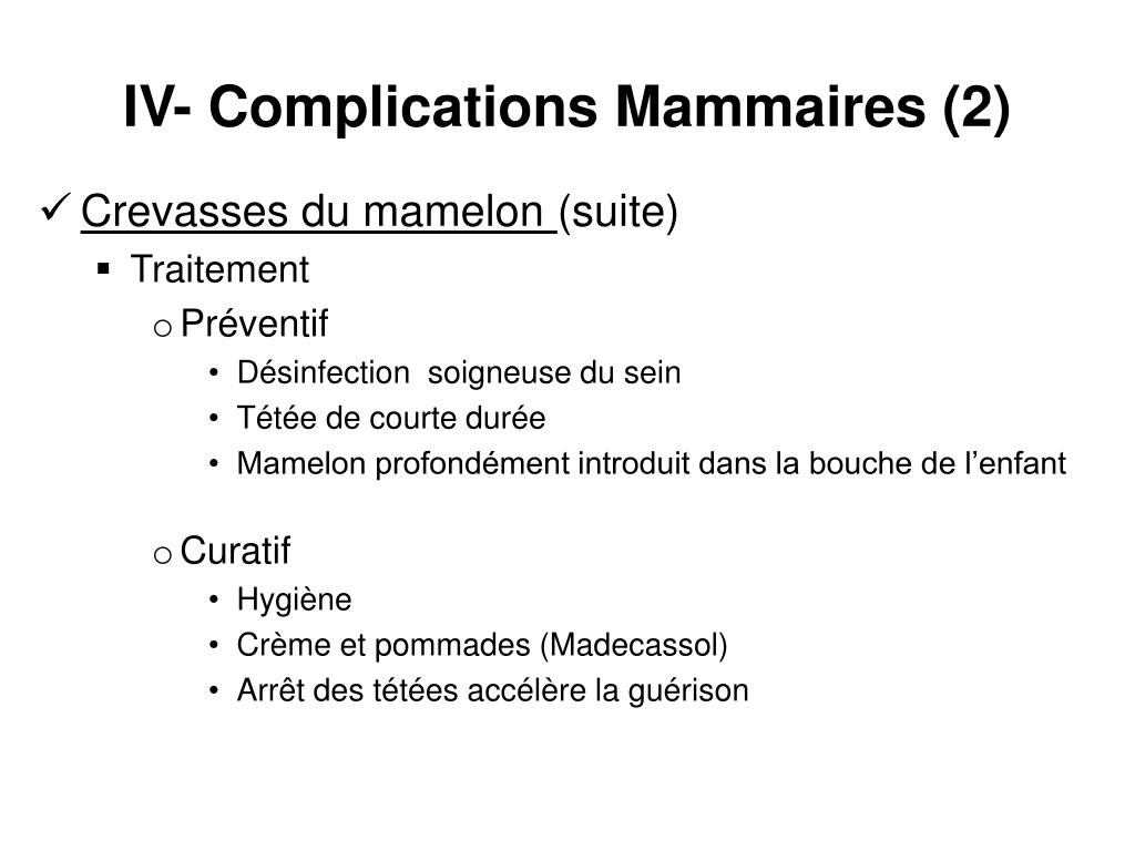 IV- Complications Mammaires (2)