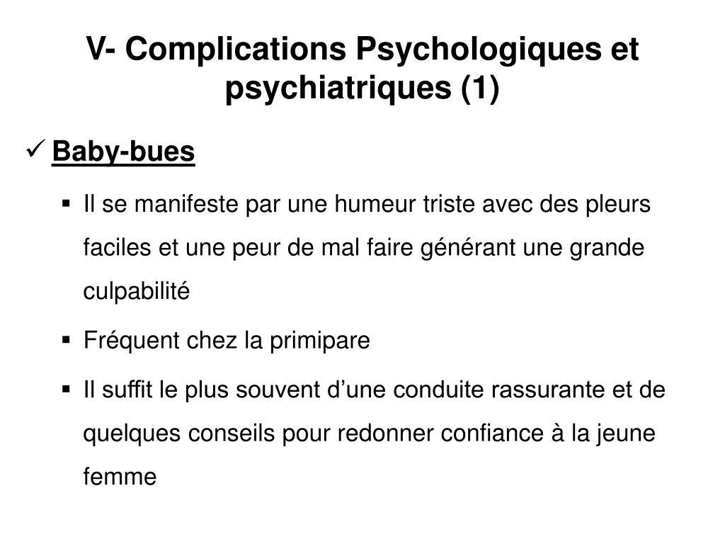 V- Complications Psychologiques et psychiatriques (1)