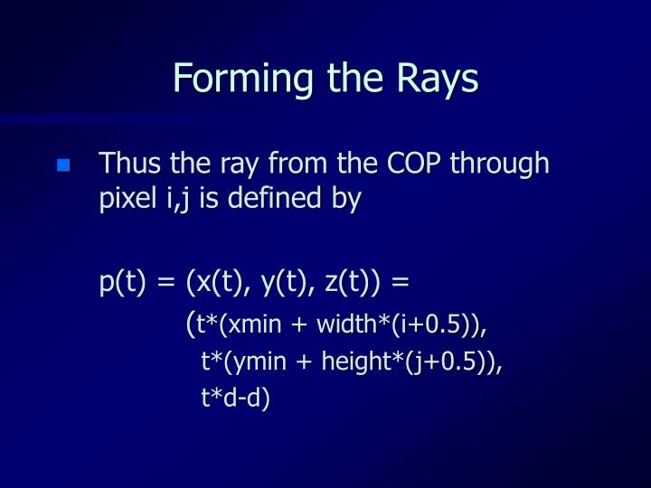 Forming the Rays