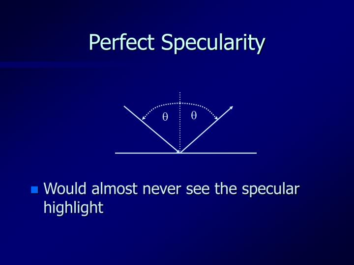 Perfect Specularity