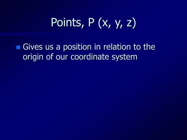 Points, P (x, y, z)