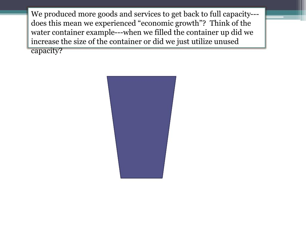 "We produced more goods and services to get back to full capacity---does this mean we experienced ""economic growth""?  Think of the water container example---when we filled the container up did we increase the size of the container or did we just utilize unused capacity?"