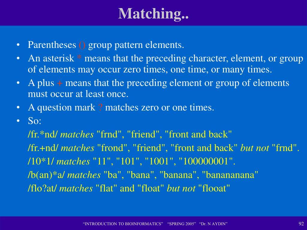 Matching..
