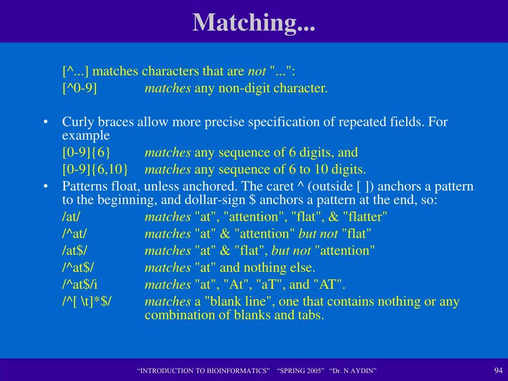Matching...