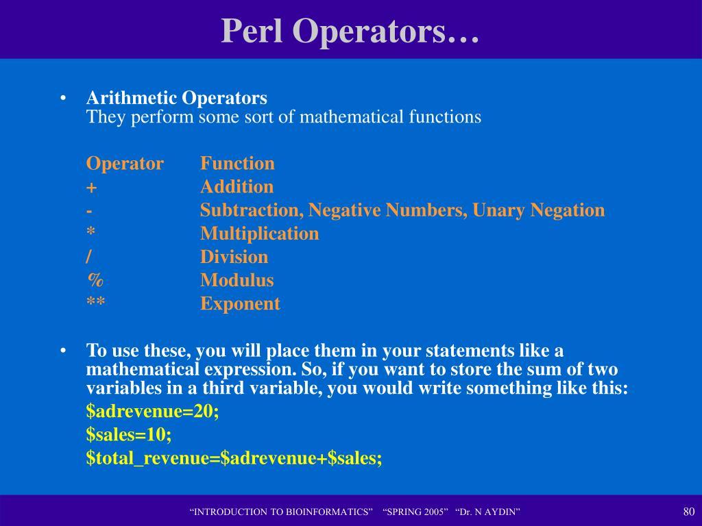 Perl Operators