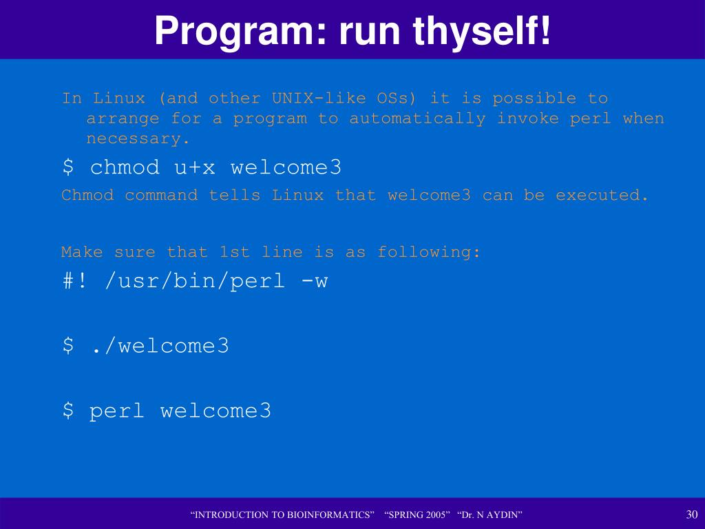 Program: run thyself!
