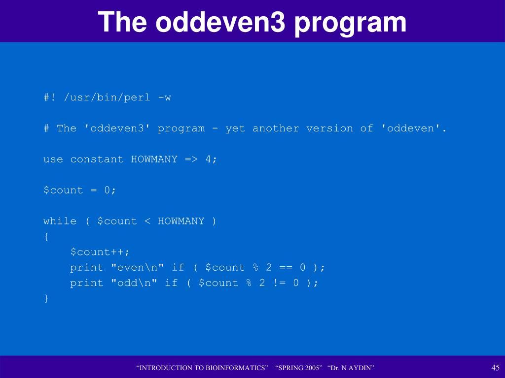 The oddeven3 program