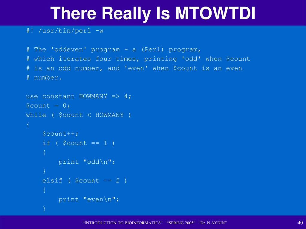 There Really Is MTOWTDI