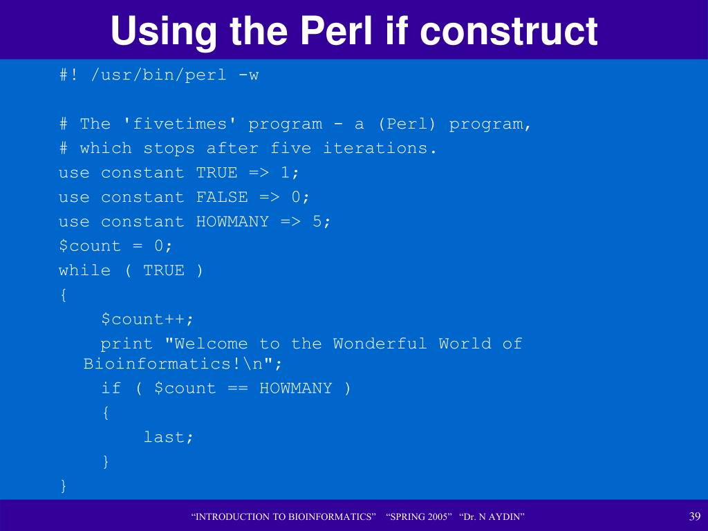 Using the Perl if construct
