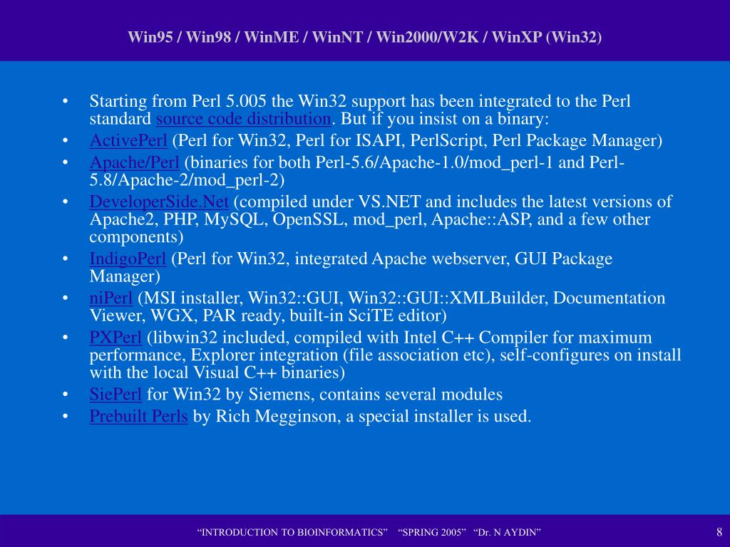 Win95 / Win98 / WinME / WinNT / Win2000/W2K / WinXP (Win32)