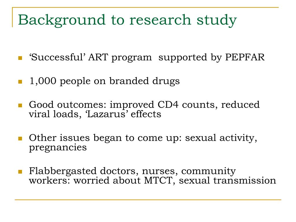 Background to research study