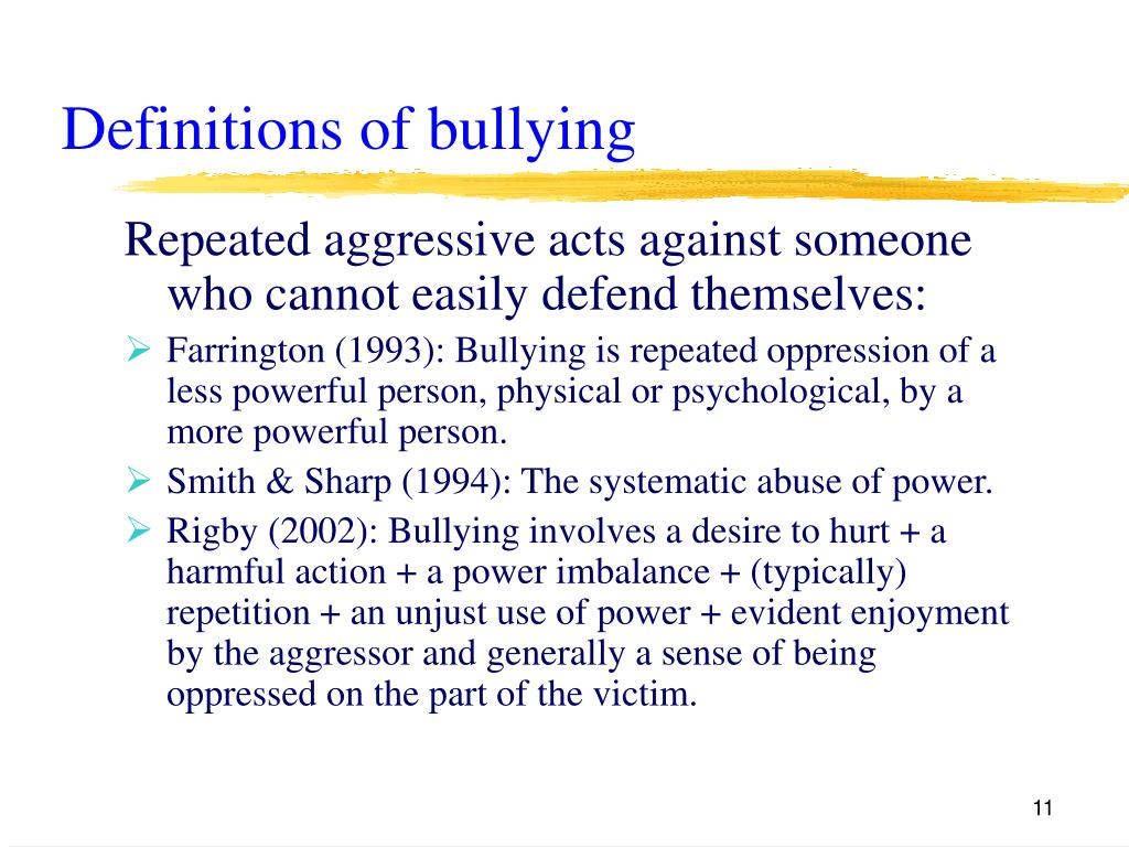 Definitions of bullying