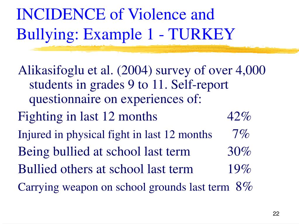 INCIDENCE of Violence and Bullying: Example 1 - TURKEY