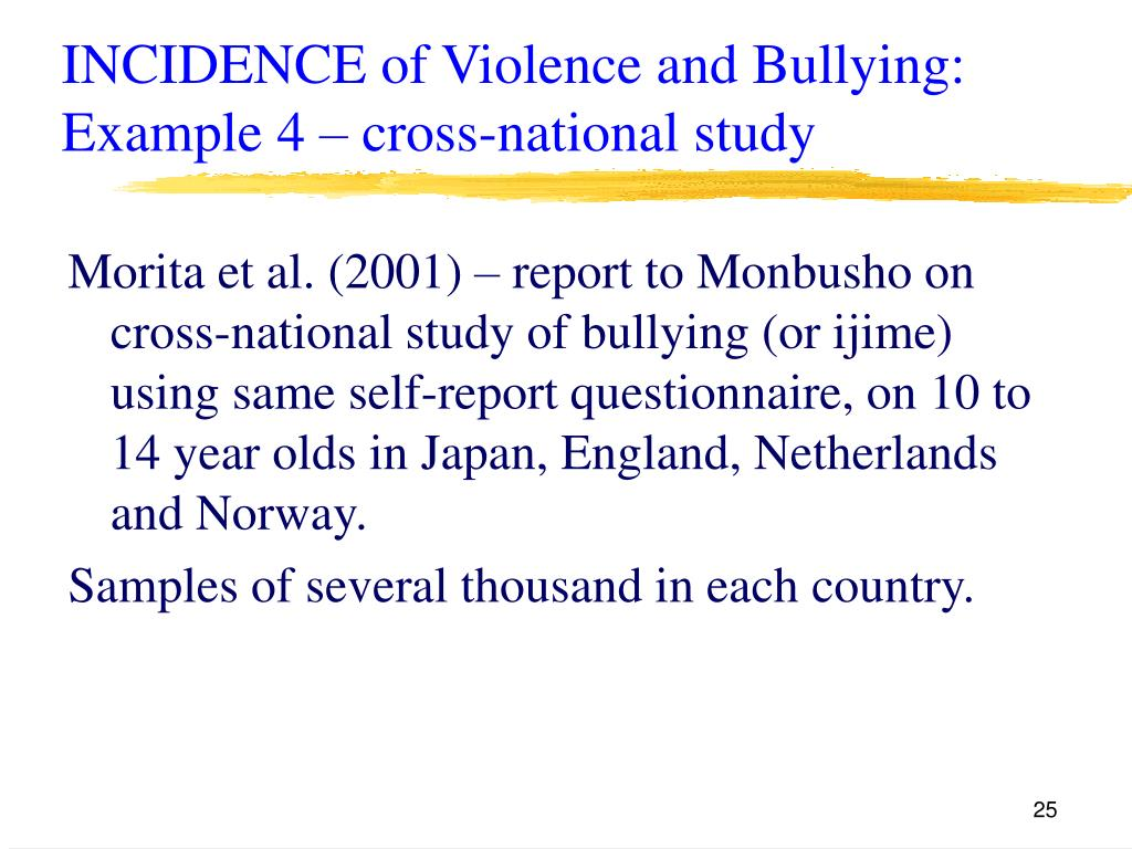 INCIDENCE of Violence and Bullying: Example 4 – cross-national study