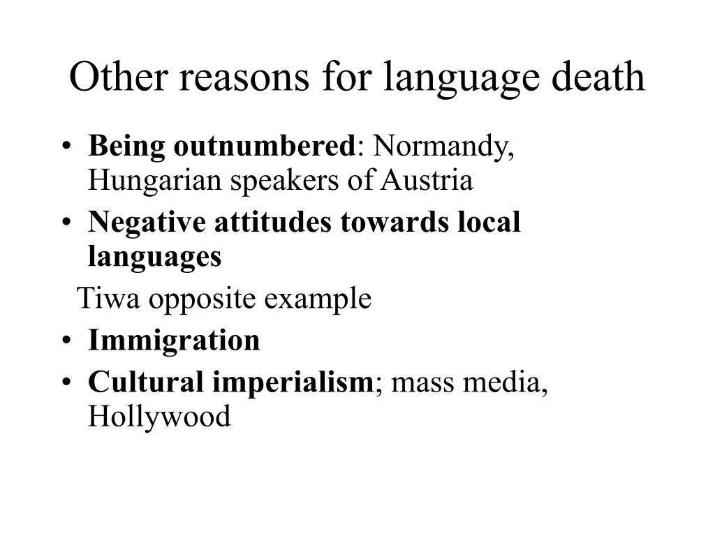 Other reasons for language death