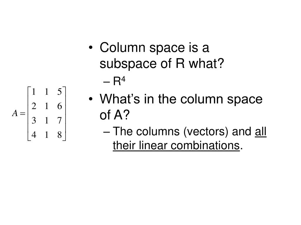 Column space is a subspace of R what?