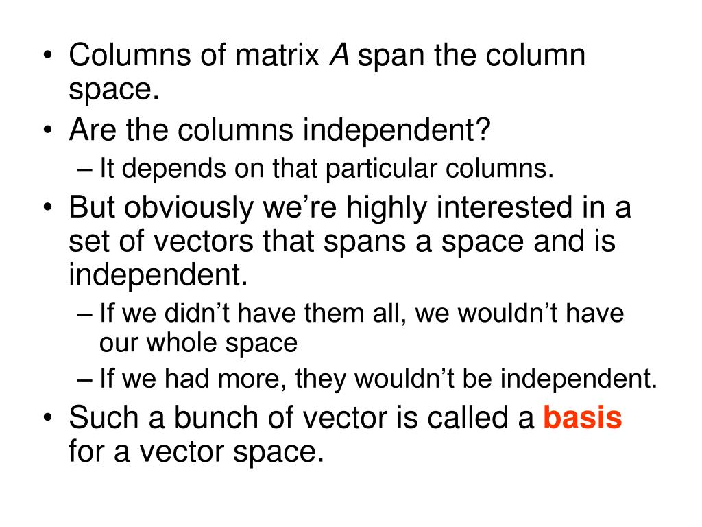 Columns of matrix