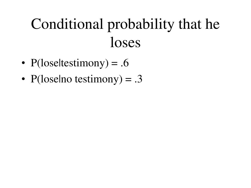 Conditional probability that he loses