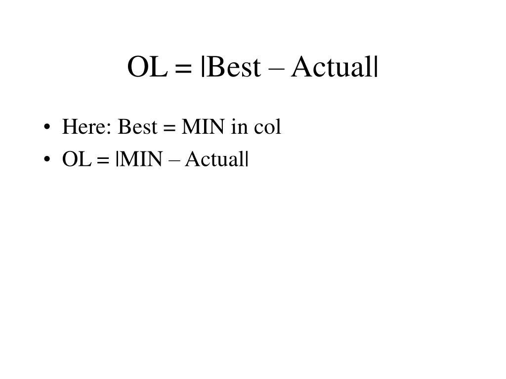 OL = |Best – Actual|
