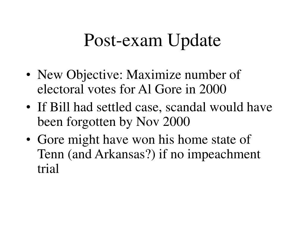 Post-exam Update