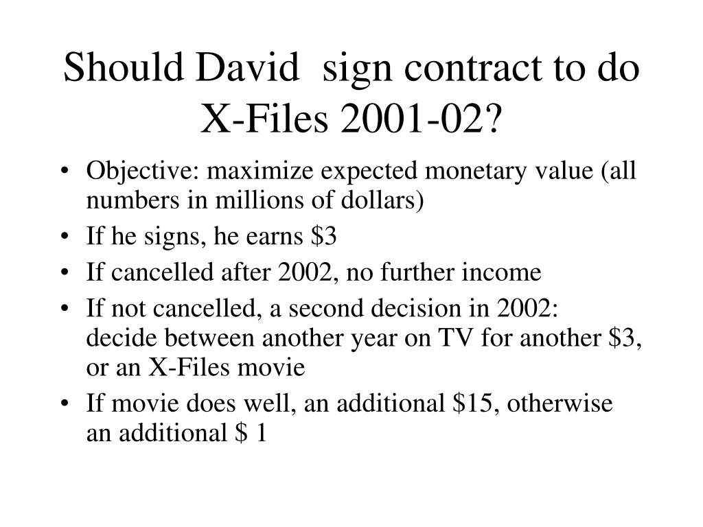 Should David  sign contract to do X-Files 2001-02?