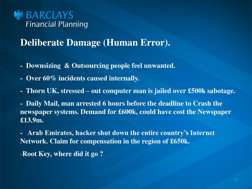 Deliberate Damage (Human Error).
