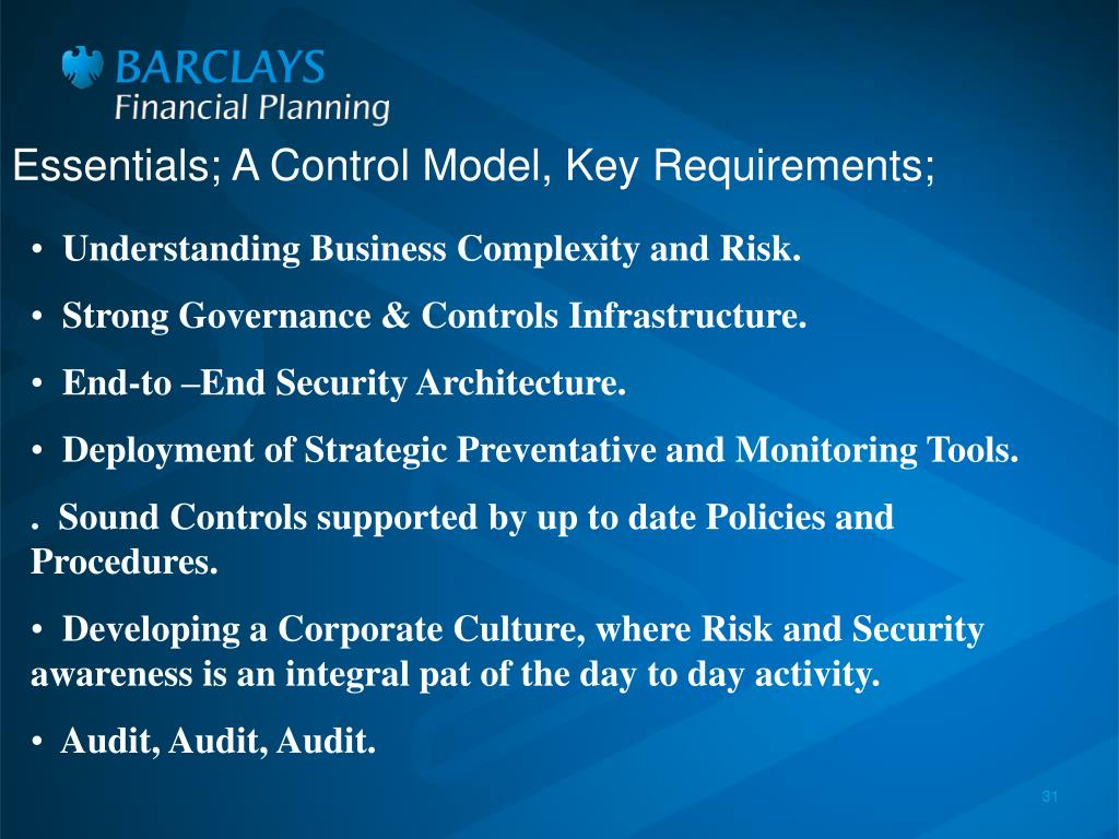 Essentials; A Control Model, Key Requirements;