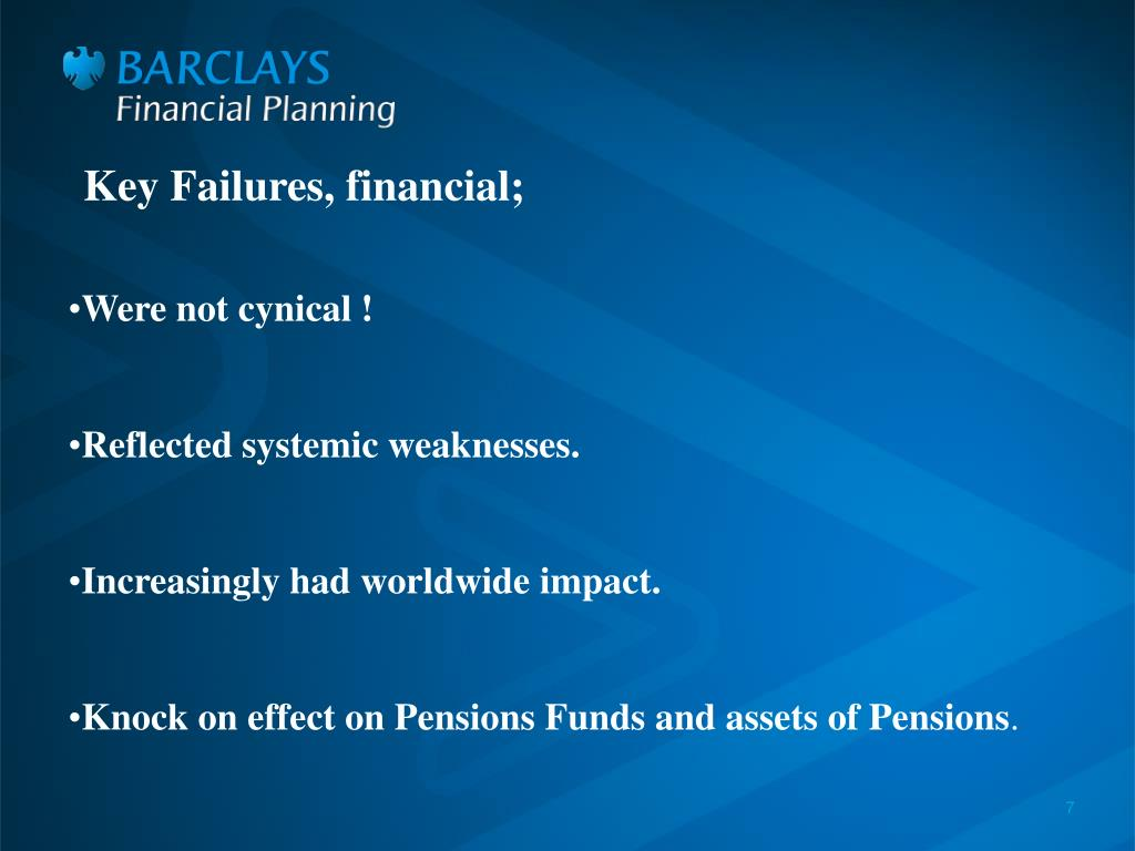 Key Failures, financial;