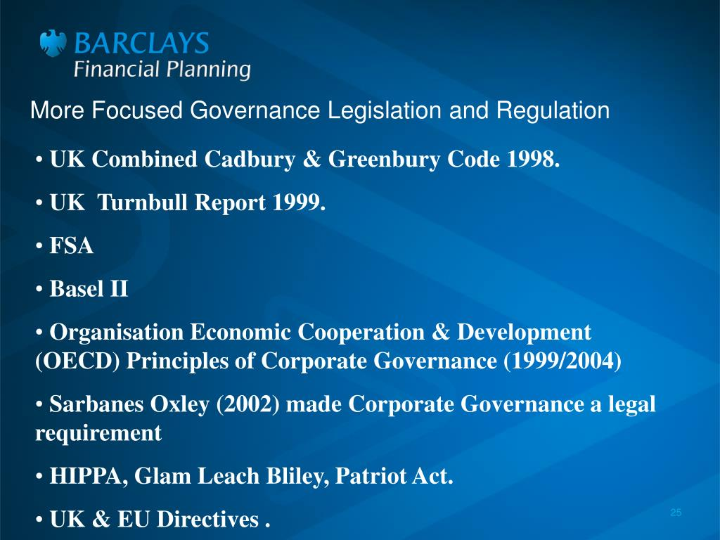 More Focused Governance Legislation and Regulation