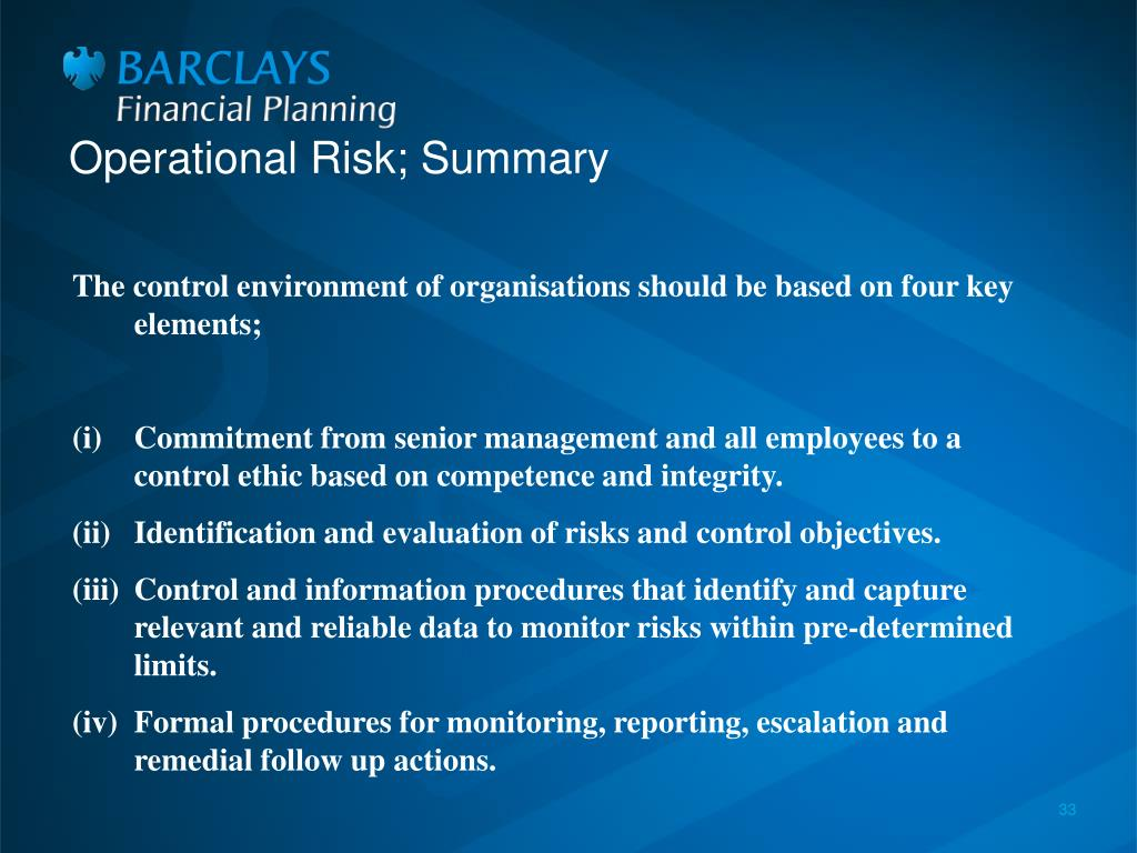 Operational Risk; Summary