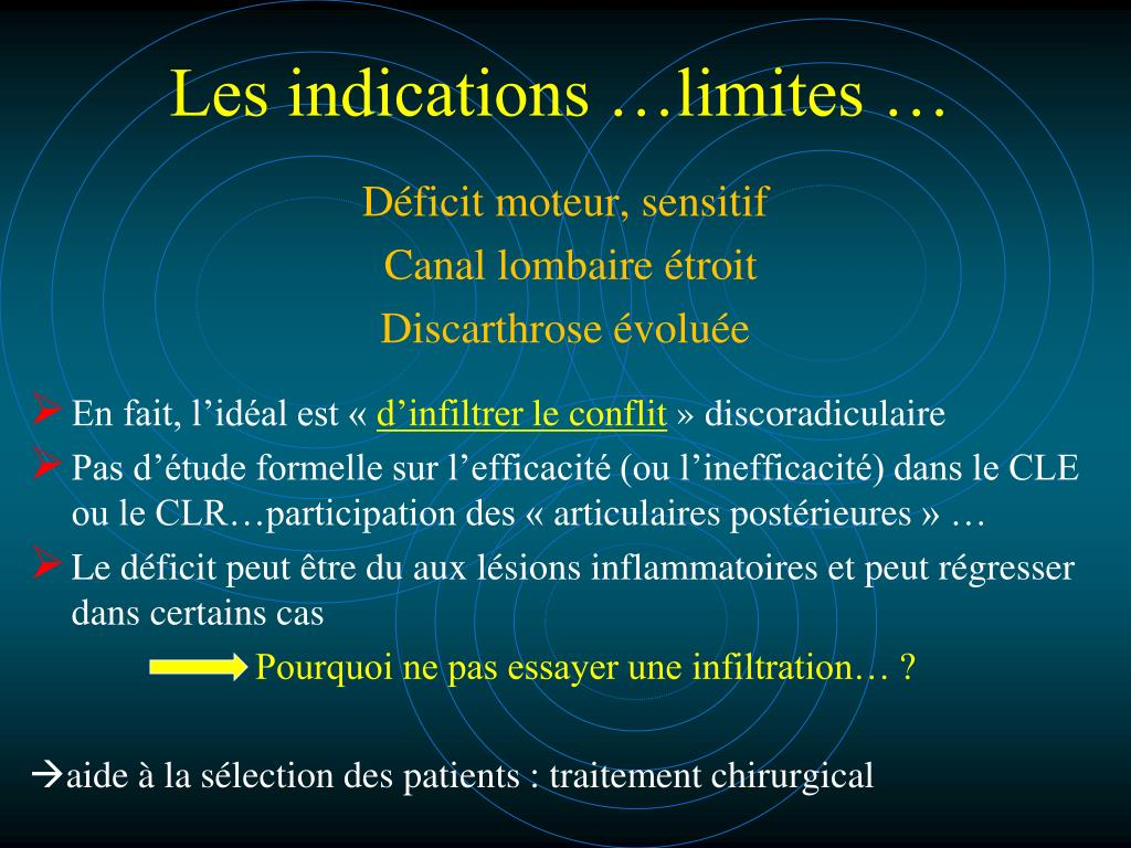 Les indications …limites …