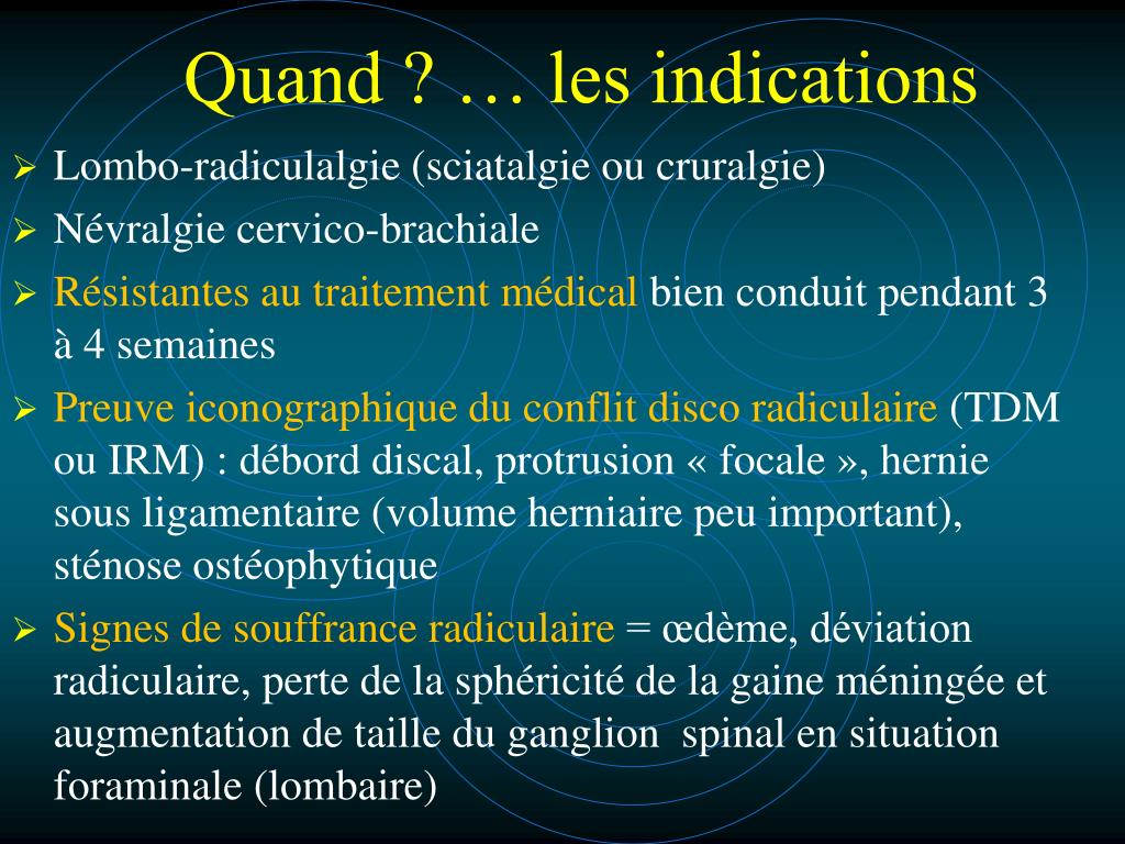 Quand ? … les indications