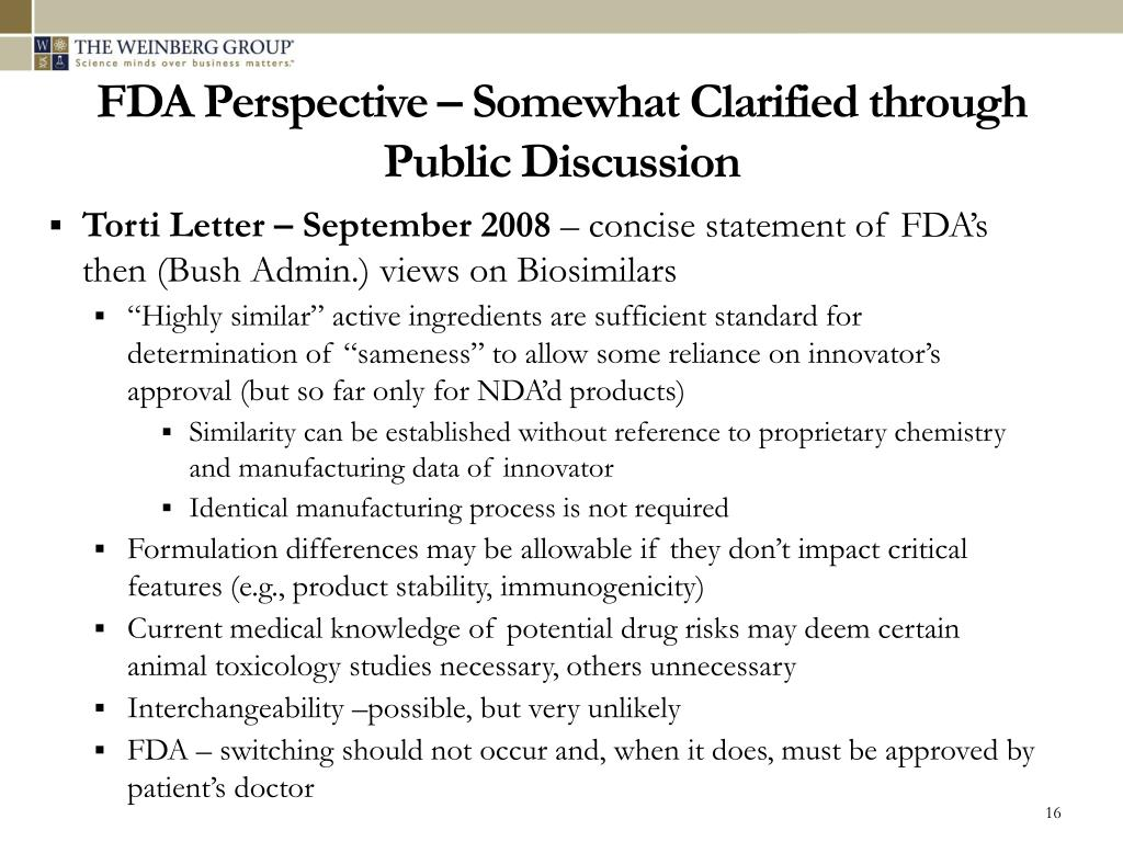 FDA Perspective – Somewhat Clarified through Public Discussion